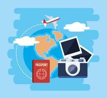 Camera met paspoort en vliegtuig met globale kaart vector
