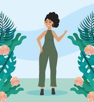 Jonge vrouw in park met bloemen vector