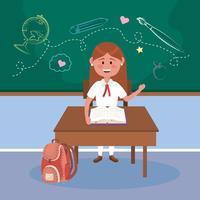 Vrouwelijke student bij bureau in klaslokaal vector