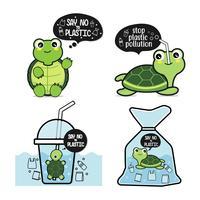 Zeg nee tegen plastic schildpadset vector
