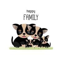 Gelukkig schattig chihuahua familie cartoon.