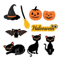 Halloween-silhouetten. Heks, pompoen, zwarte kat, spin, vleermuis en bezem.