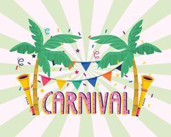 Carnaval met palmbomen, banner en hoorns vector