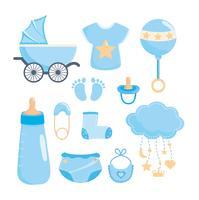 Set blauwe baby douche viering en decoratie elementen vector