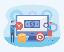 Onderneemster en zakenman met het computerscherm met rekeningen en muntstukken