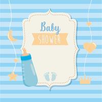 Baby shower label met fles en voetafdrukken vector