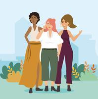 Drie verschillende moderne vrouwen in vrijetijdskleding in park vector