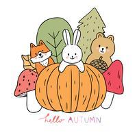Herfst, vos en konijn en beer en pompoen en paddestoel vector