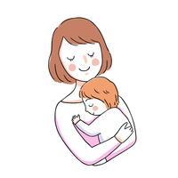 moeder en baby knuffelen
