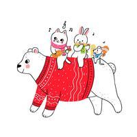 IJsbeer en kat en konijn en muis spelen muziek vector