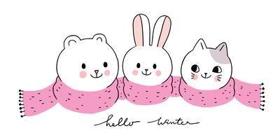winter, ijsbeer en konijn en kat