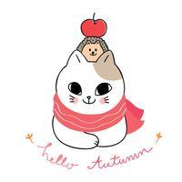 Hallo herfst kat en egel vector