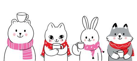 dieren winter, beer en konijn en kat en vos koffie drinken