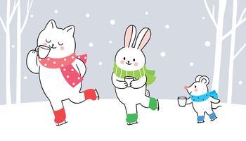 Kat, konijn en muis schaatsen