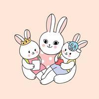 Cback naar school moeder en baby konijn gaan naar school