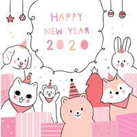 Gelukkig nieuwjaar Dieren feesten