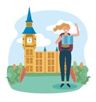 Vrouw met kaart voor de Big Ben vector