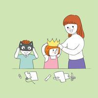 docent vrouw en studenten in papier ambachten klas