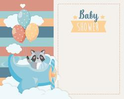 Kaart van de baby douche met wasbeer in vliegtuig met ballonnen vector