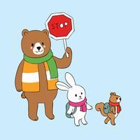 bruine beer met teken STOP en konijn en eekhoorn over de weg
