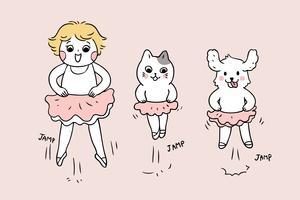 terug naar schoolmeisje en dieren dansen Balletles