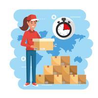 Levering vrouw met doos met stopwatch en stapel pakketten vector