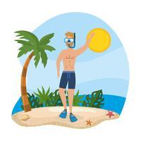 Mens die scuba-uitrustingstoestel op strand draagt