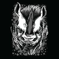 zwart-wit de t-shirtontwerp van de neushoornillustratie