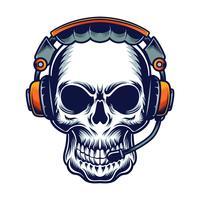 schedel met t-shirtontwerp van de hoofdtelefoon het vectorillustratie