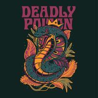 T-shirtontwerp van de cobra het vectorillustratie