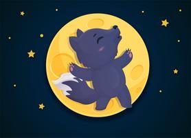 Weerwolf cartoon die verandert in een vos op de volle maan nacht.