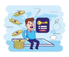 Man in smartphone met munten en wachtwoord