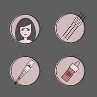 Apparatuur voor permanente make-up icon set vector