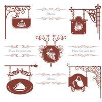 Set van Vintage Restaurant straatnaamborden vector