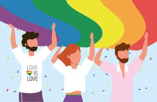 LGBT gemeenschap samen naar vrijheid en trots vector