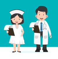 Verpleegster en arts met Klembord vector