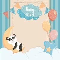 Kaart van de baby douche met panda op maan vector