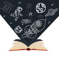 open boek met fladderen in de wind pagina's planeet