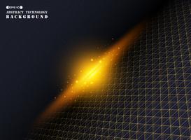 Gouden geometrische driehoek streep lijnpatroon op donkerblauwe universumachtergrond
