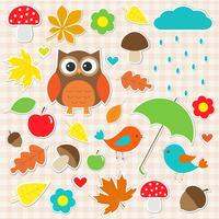 Vector set herfst stickers