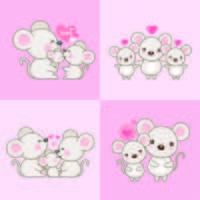 Leuke cartoon familie muis en baby. vector