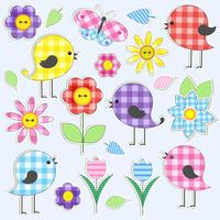 Leuke vogels en bloemen vector