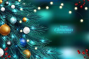 Kerstboomtakken op een donkere nacht bokeh achtergrond