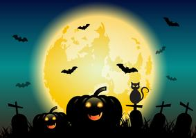 Halloween-nachtachtergrond met gloeiende maan en pompoenen