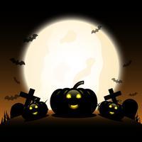 Halloween-pompoenen onder de grote gloeiende maan