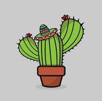 Leuke grappige cactus achtergrond vector