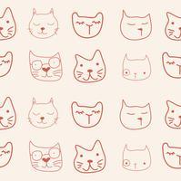 kat gezichten patroon vector