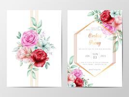 Uitnodiging bruiloft ingesteld met rozen