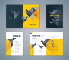 Cover boek ontwerpset papieren vogel achtergrond vector