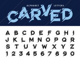 Glitch moderne alfabetletters en cijfers